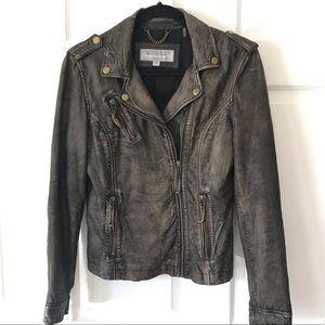 Distressed Leather Moto Jacket Marc New York